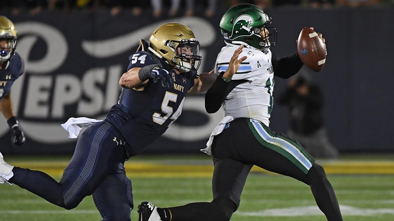 Diego Fagot Named Preseason Third-Team All-American by Phil Steele; Five Navy Players Named All-American Athletic Conference - Naval Academy Athletics