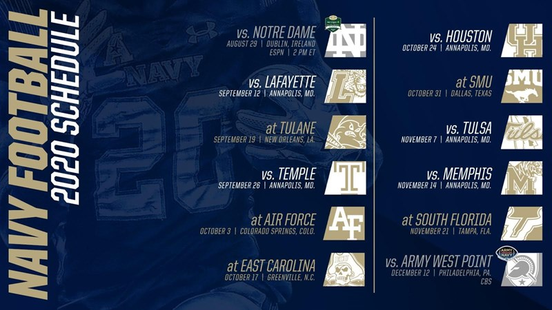 American Athletic Conference Releases 2020 Navy Football Schedule Naval Academy Athletics